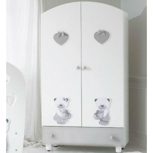 шкаф двустворчатый Baby Expert Bon Bon белый